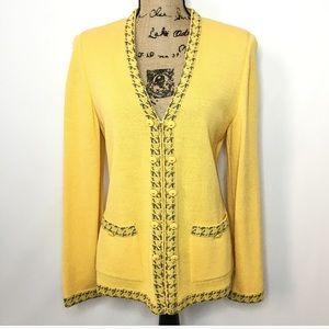St. John Collection Yellow Black Wool Knit Blazer